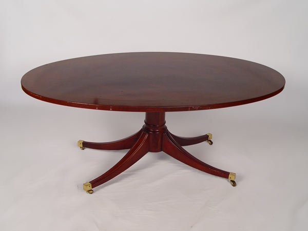 20A: OVAL INLAID MAHOGANY COFFEE TABLE