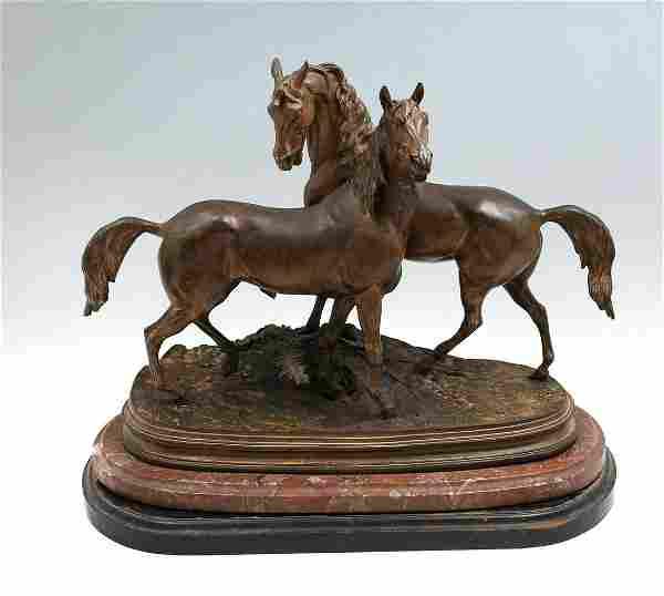 LARGE PJ MENE BRONZE OF TWO HORSES