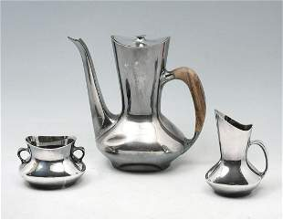 3 PC. COHR DANISH MID-CENTURY STERLING SILVER TEA