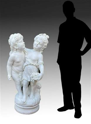 LARGE MARBLE SCULPTURE OF CHILDREN