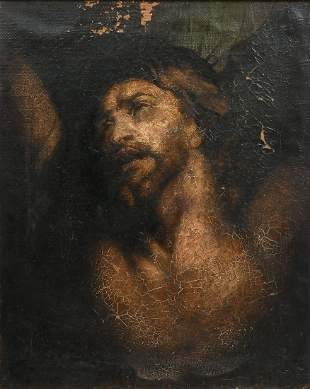 FINE EARLY PAINTING OF CHRIST ON THE CROSS