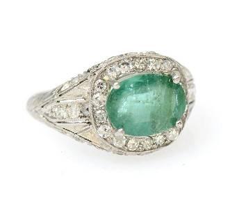 PLATINUM EMERALD & DIAMOND BELLE EPOQUE RING