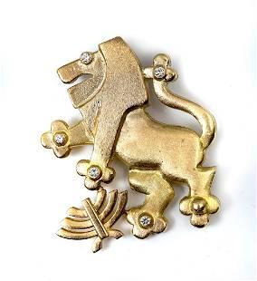 14K & DIAMOND LION OF JUDAH PENDANT/BROOCH