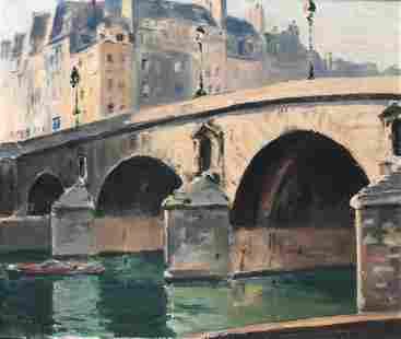 1930s IMPRESSIONIST PAINTING OF THE SEINE PARIS