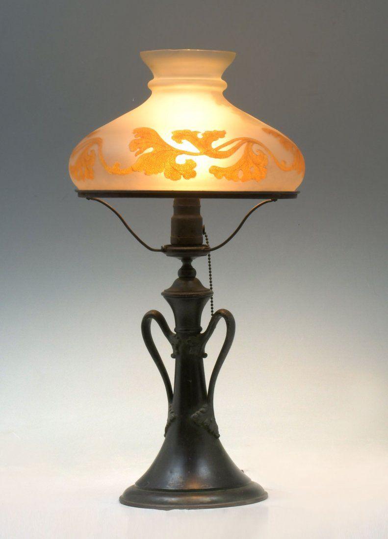 ART NOUVEAU REVERSE PAINTED HANDEL LAMP