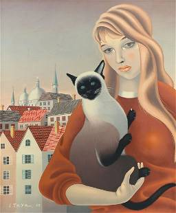 FOUSSA ITAYA WOMAN WITH A CAT PAINTING