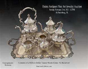 HIGHLY ORNATE SILVER PLATE TEA AND COFFEE SERVICE