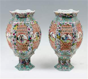 PAIR OF CHINESE FAMILLE ROSE PORCELAIN LAMPS