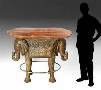 MARBLE TOP ELEPHANT BAR HEIGHT TABLE WITH BAR RAIL