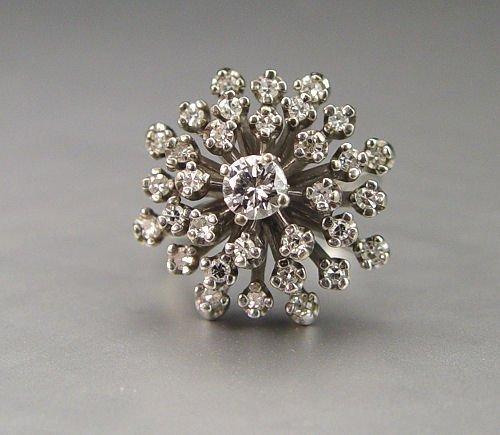 4: WHITE GOLD DOMED DIAMOND CLUSTER RING