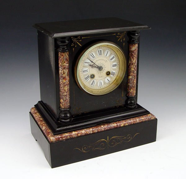 206: FRENCH LE BOUTILLIER SLATE & MARBLE MANTLE CLOCK