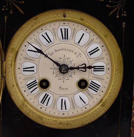 206: FRENCH LE BOUTILLIER SLATE & MARBLE MANTLE CLOCK - 2