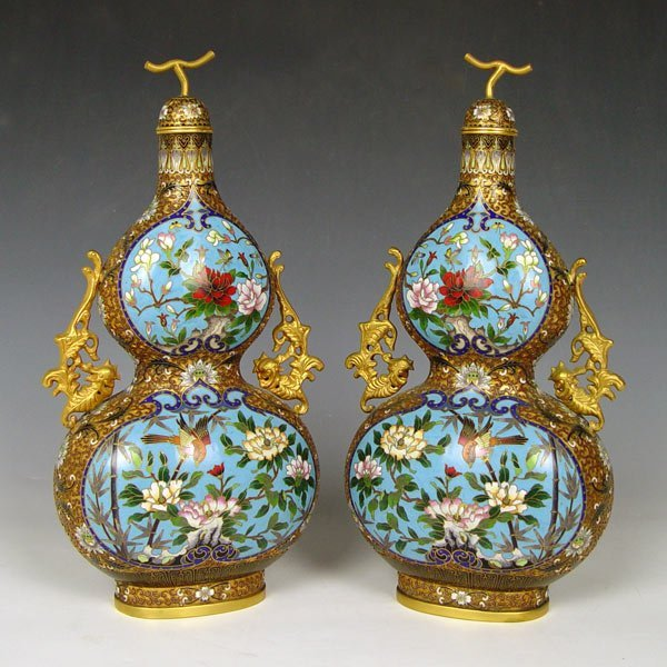 399: PAIR CHINESE CLOISONNE COVERED JARS