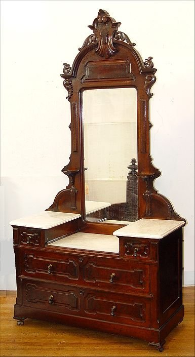 57: VICTORIAN MARBLE TOP DRESSER AND MIRROR
