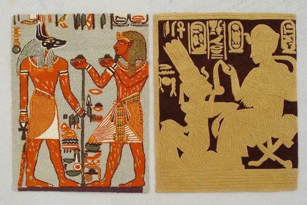 14: 2 EGYPTIAN MOTIF MID CENTURY RUGS