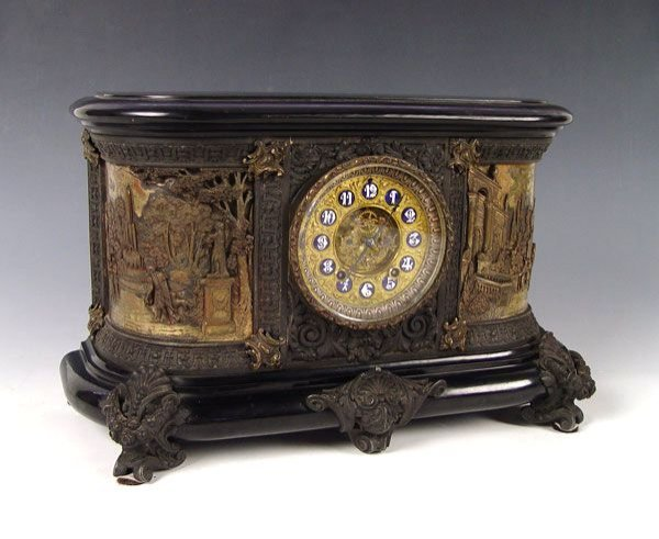 11: FINELY DETAILED FAUX ONYX ANSONIA VIRGINIA CLOCK