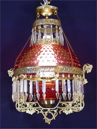 3A: CRANBERRY HOBNAIL GLASS CHANDELIER