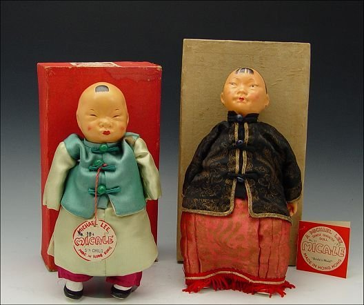 230: 2 MICHAEL LEE MICALE CHINESE DOLLS 1950'S