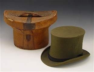 83A: VICTORIAN LEATHER TOP HAT BOX WITH HAT
