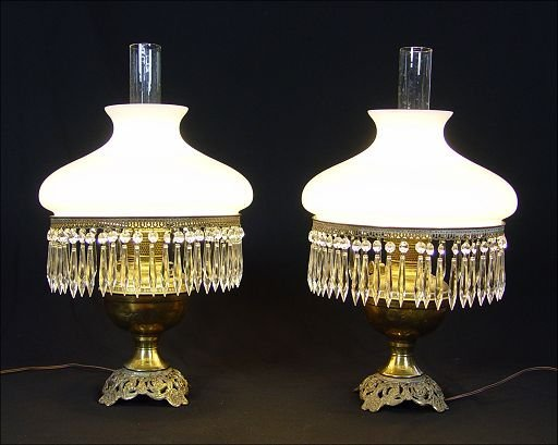 6: PR BRASS LAMPS W ELEGANT WHITE SHADES W PRISMS: