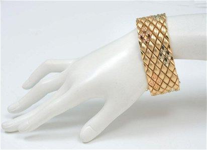 18K RARE ART DECO TRI-COLOR DIAMOND PATTERN BRACELET