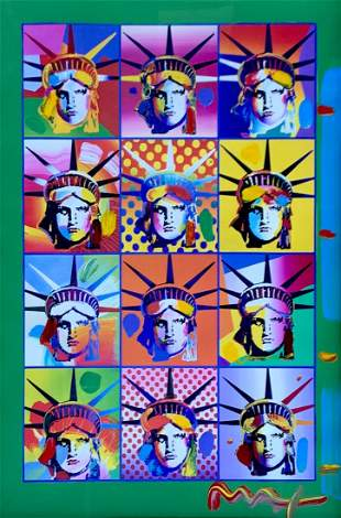 PETER MAX MIXED MEDIA LIBERTY AND JUSTICE FOR ALL