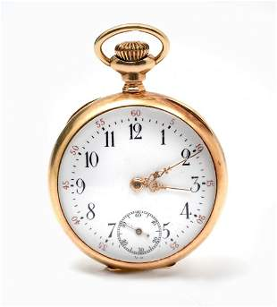 14K UNNAMED OPEN FACED POCKET WATCH