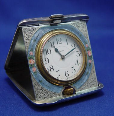 2: GUILLOCHE TRAVEL CLOCK BLACKINTON STERLING OCTAVA  C