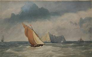 W.C. KNELL SAILING SHIPS WATER COLOR PAINTING