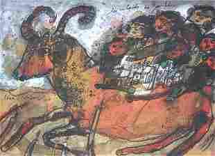 THEO TOBIASSE ORIGINAL GOUACHE LES ENFANTS WITH ORI