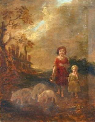18th C? PAINTING FIGURES AND PIGS IN A LANDSCAPE