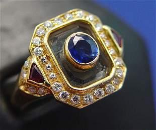 ITALIAN 18K RING DIAMOND SAPPHIRE RUBIES SZ8.5 8GR