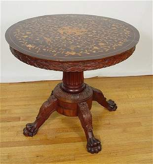 CARVED PARLOR TABLE DUTCH MARQUETRY INLAY TOP