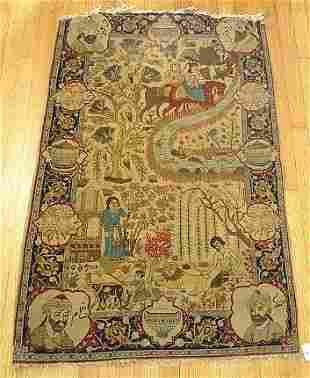ANTIQUE HAND TIED PICTORIAL RUG