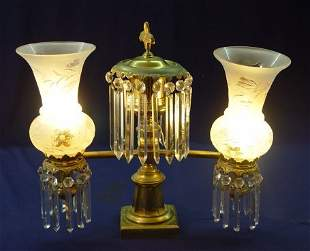 ARGAND BRASS LAMP WITH ETCHED GLASS SHADES