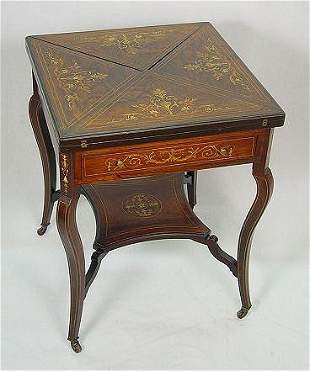 ITALIAN MARQUETRY INLAID ENVELOPE GAME TABLE
