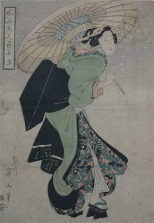 THREE PIECE ART LOT OF JAPANESE WOODBLOCK PRINTS