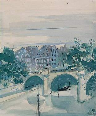MYSTERY PAINTING VILLAGE CANAL SCENE '56 SIGNED