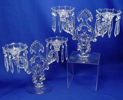 14: PAIR OF CAMBRIDGE ELEGANT GLASS CANDELABRA