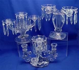 3 ELEGANT GLASS CANDELABRA FOSTORIA CAMBRIDGE