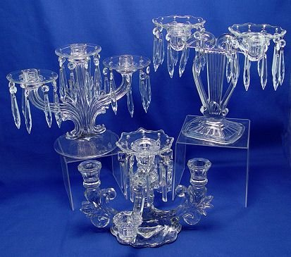 15: 3 ELEGANT GLASS CANDELABRA FOSTORIA CAMBRIDGE