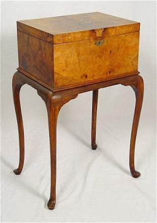 EARLY BURLED SEWING BOX ON STAND