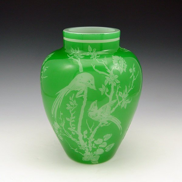 4: STEUBEN JADE ETCHED ART GLASS VASE 6142