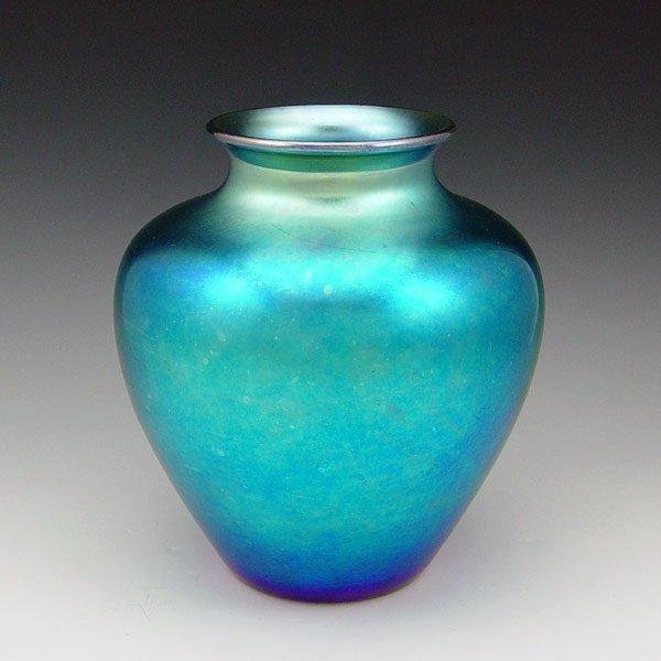 5: STEUBEN BLUE AURENE ART GLASS VASE
