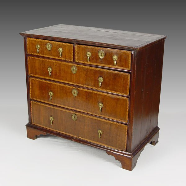 11: 18th Century BANDED DRAWER CHEST
