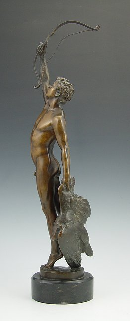 16: EARLY BRONZE NUDE ARCHER WITH FOWL