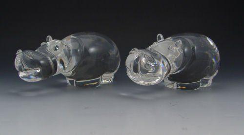 2 STEUBEN CRYSTAL HIPPOS