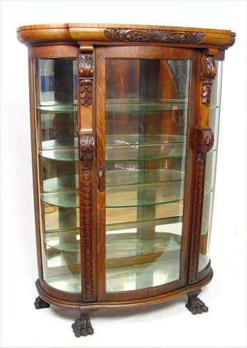 17: TIGER OAK CARVED TRIPLE BOW CHINA DISPLAY CABINET