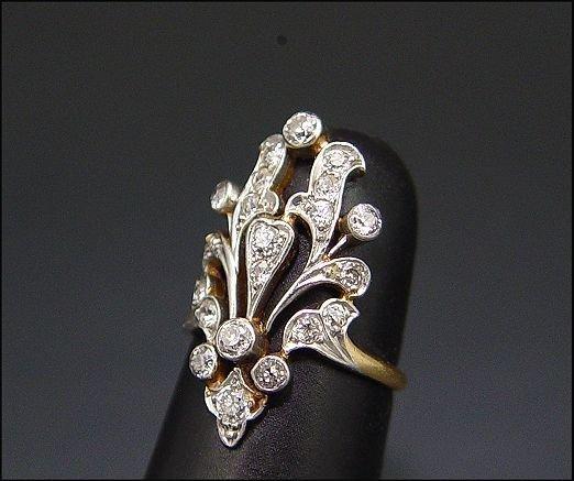 2: 18K & PLATINUM ANTIQUE DIAMOND RING