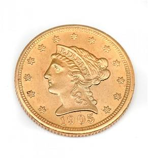 1905 BARBER $2.5 GOLD COIN